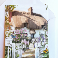 Traditional thatched roof cottage card