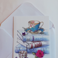 book lover blank card