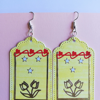 Yellow tulip earrings