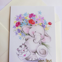 Cute elephant best wishes card