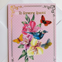 handmade card To Someone Special with flowers and butterflies
