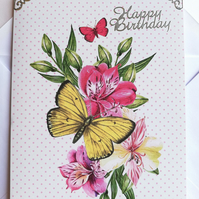 Handmade birthday card, flowers with butterflies