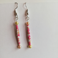 pink paper bead and cream pearl earrings