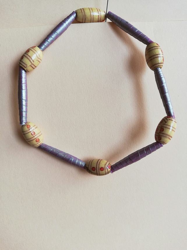 Wooden bead and handmade paper bead bracelet