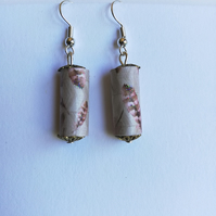 handmade brown and beige coloured paper bead earrings