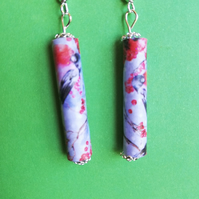 handmade multicoloured paper bead earrings