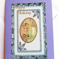 Handmade Art deco style birthday card in shades of blue