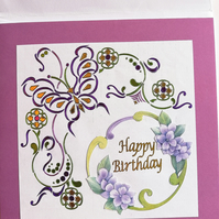 Handmade stylised butterfly and floral birthday card