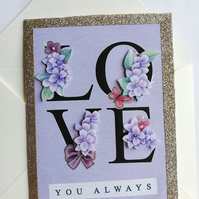 Handmade 'Love you always' decoupage card