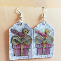 Cute bird on a gift box earrings