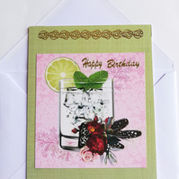 Handmade birthday card with gilding and glass of gin