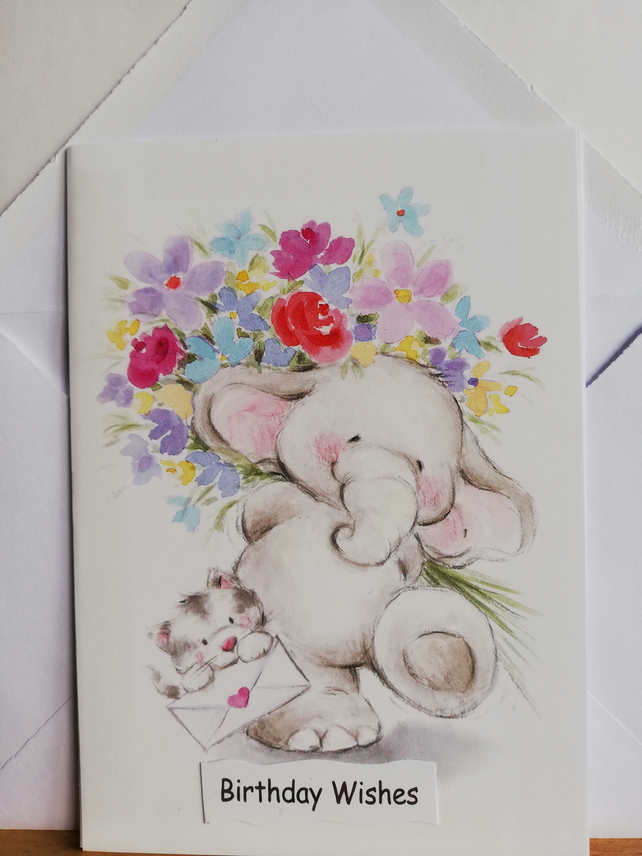 Handmade birthday card with cute elephant, kitten and flowers