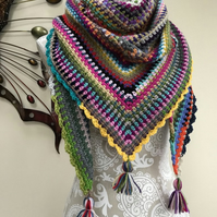 Shawl BOHO Multi coloured textured patterned scarf wrap crochet