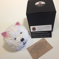 Westie West Highland Terrier Dog Handmade with British Wool Pompompets