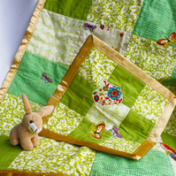 Spring Birdies Baby Pram Blanket and Soother SET