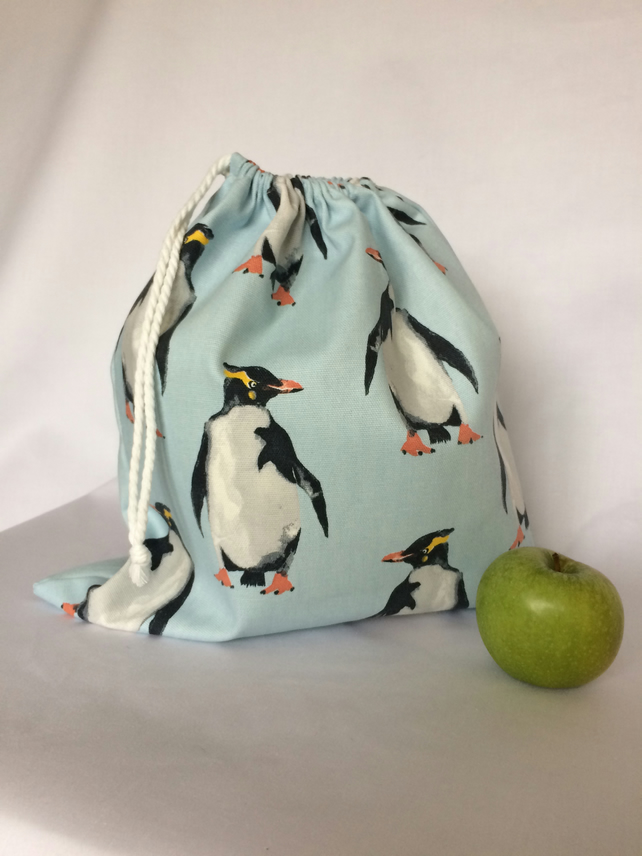 Penguins Drawstring Toy Bag