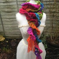 scarf wrap rainbow crochet lace style twist design fashion accessories