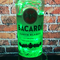Bacardi 700ml Upcycled Bottle Light with Flashing Static Green LEDs