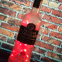 Upcycled 70cl Russian Standard Vodka Red LED Bottle