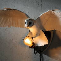 Handmade paper and resin Barn owl wall light