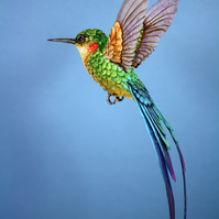 Handmade paper and wood long tailed hummingbird sculpture