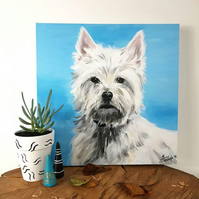 Personalised Acrylic Pet Painting, Custom Animal Commission on canvas, 30x30 cm