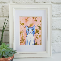 Blue Cat Watercolour