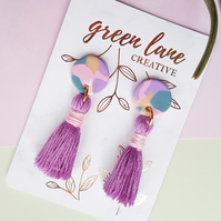 'Terrazzo' purple tassel earrings