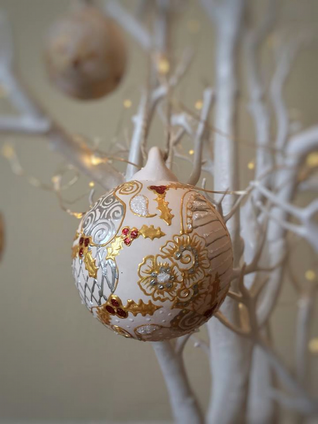 Christmas Hand Painted Christmas Ceramic Bauble