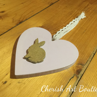 Hand made wood hanging heart with little gold bunny