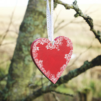 Shabby chic hanging wood love heart- customisable, handmade Valentines day gift