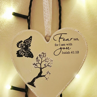 Wooden handmade hanging heart with Bible verse
