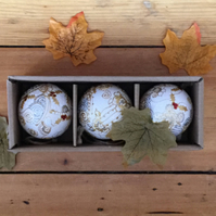 3 ceramic Christmas baubles