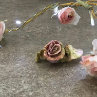 Rose Silk Bohemian Inspired Flower Brooch