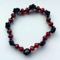 Black and Red Vintage Style Rose Bracelet. Handmade Bracelet