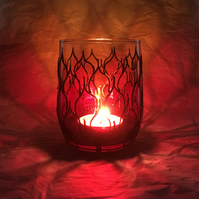 Hand Painted Glass Candle Holder - Fire Design