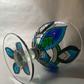 Hand Painted Glass Candle Holder Bowl - Minuet Design