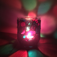 Hand Painted Glass Candle Holder - Disco Design