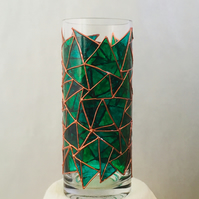Hand Painted Glass Vase -Troika Design in Green and Copper