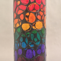 Hand Painted Glass Vase - Disco Design in Rainbow Colours