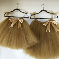 Flower girl tutu, gold tulle tutu, beautiful bespoke skirt, Christmas party tutu