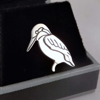 Kingfisher Tie Pin, Silver Bird Jewellery, Handmade Animal Gift for Him