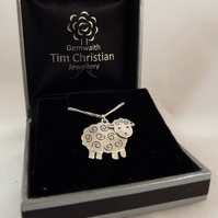 Sheep Pendant (Small), Farm Animal Jewellery, Handmade Silver Lamb Gift
