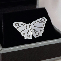 Butterfly Tie Pin, Silver Nature Jewellery, Handmade Wildlife Gift for Him