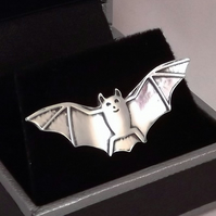 Bat Tie Pin, Silver Wildlife Gift, Handmade Nature Jewellery