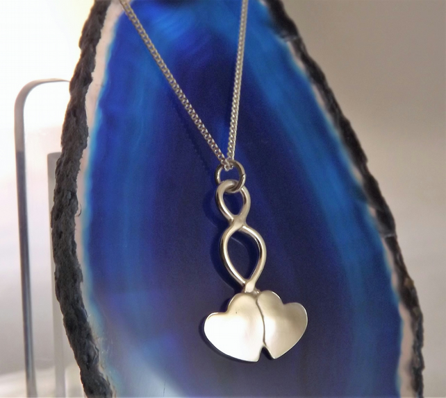 Double Heart Pendant, Silver Celtic Jewellery, Handmade Welsh Necklace