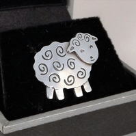 Sheep Tie Pin, Silver Animal Jewellery, Gift for Men