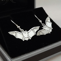 Bat Drop Earrings, Silver Wildlife Jewellery, Handmade Nature Gift for Her