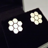 Honeycomb Stud Earrings, Handmade Silver Jewellery, Gift for Her