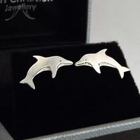Dolphin Stud Earrings, Silver Wildlife Jewellery, Handmade Nature Gift for Her